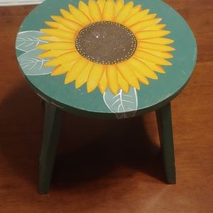 Wooden hand painted sunflower stool